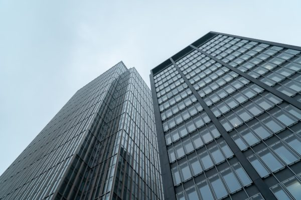 A low angle view of the Deutsche Bank building in NYC